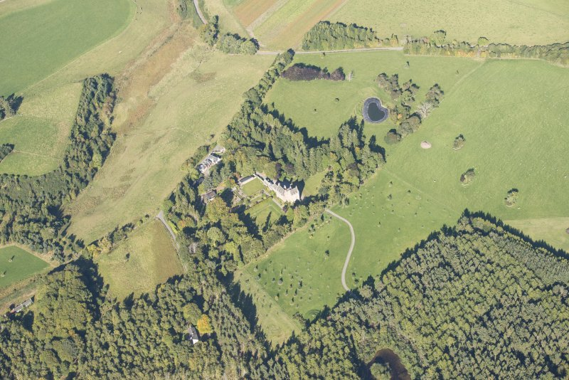Oblique aerial view of Dalcross Castle, looking NNW.