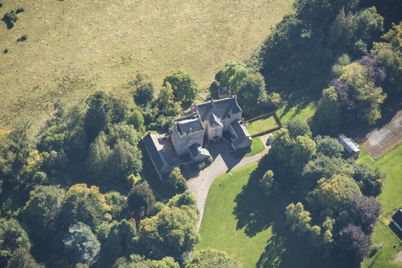 Oblique aerial view of Kilravock Castle, looking SSE.