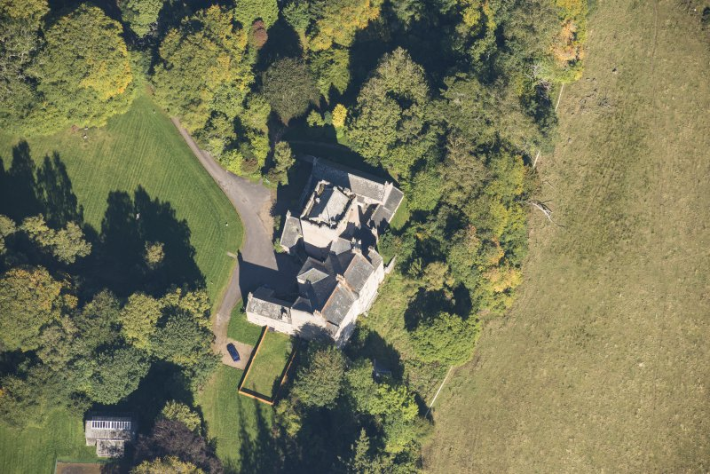 Oblique aerial view of Kilravock Castle, looking NE.