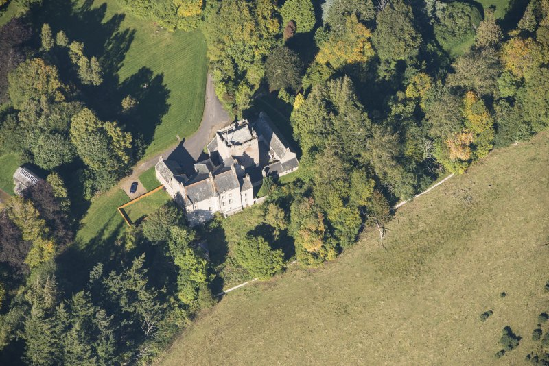 Oblique aerial view of Kilravock Castle, looking NNW.