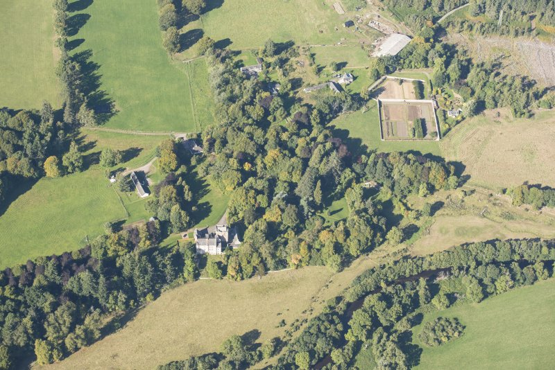 Oblique aerial view of Kilravock Castle, looking WNW.