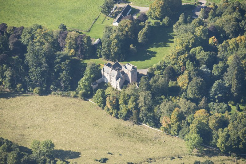 Oblique aerial view of Kilravock Castle, looking WSW.