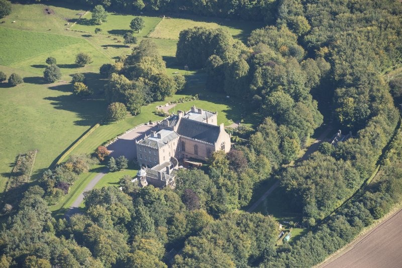 Oblique aerial view of Darnaway Castle, looking ESE.