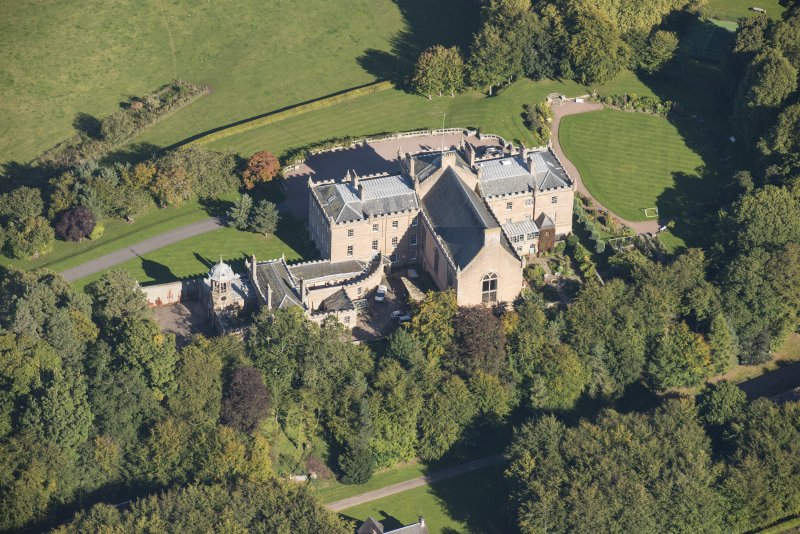 Oblique aerial view of Darnaway Castle, looking NE.