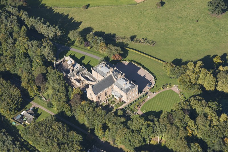 Oblique aerial view of Darnaway Castle, looking NNW.