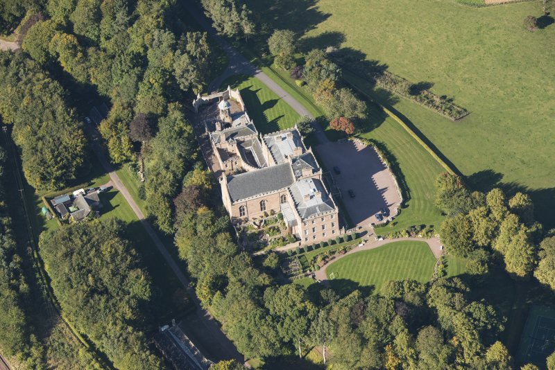 Oblique aerial view of Darnaway Castle, looking NW.