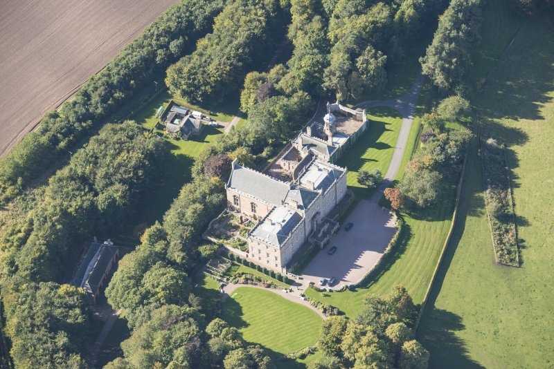 Oblique aerial view of Darnaway Castle, looking W.