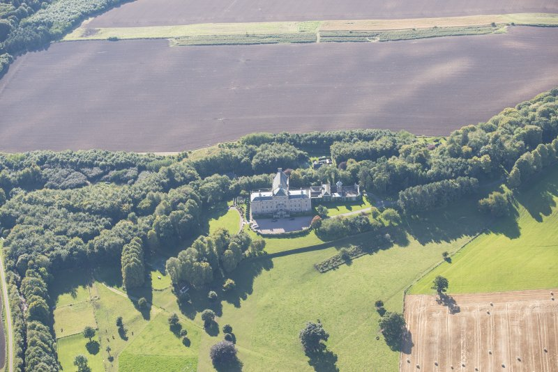 Oblique aerial view of Darnaway Castle, looking SW.