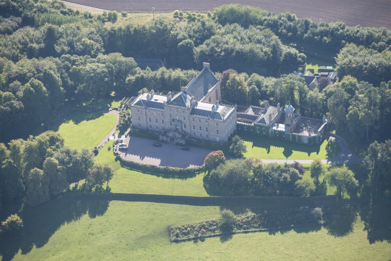 Oblique aerial view of Darnaway Castle, looking S.
