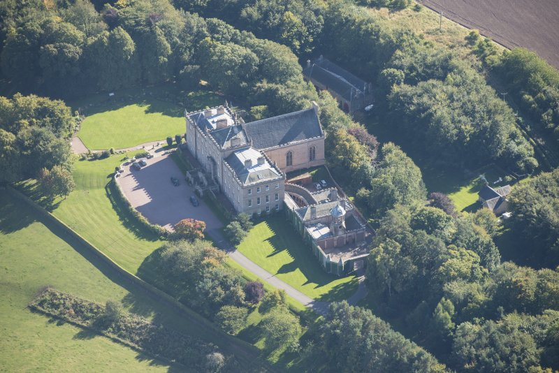Oblique aerial view of Darnaway Castle, looking SE.