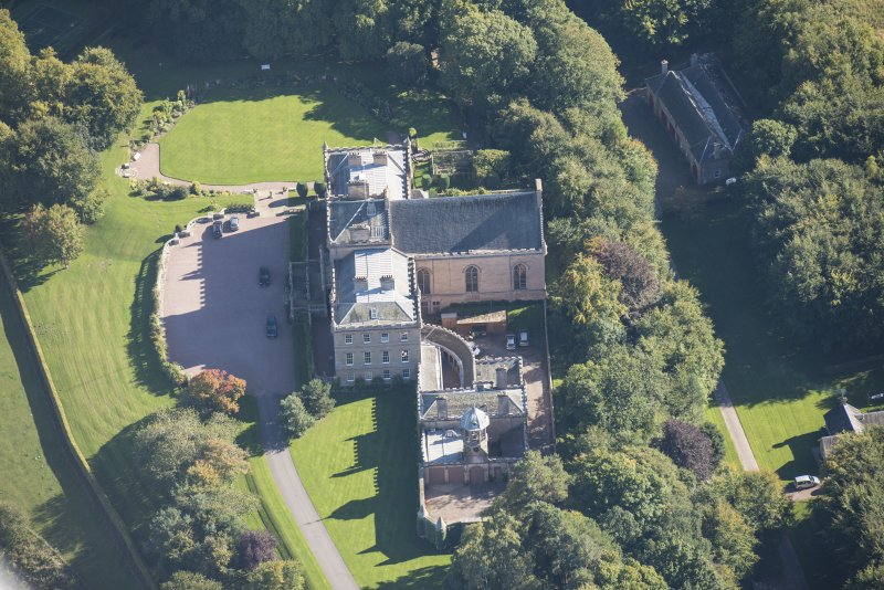 Oblique aerial view of Darnaway Castle, looking E.