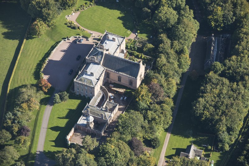Oblique aerial view of Darnaway Castle, looking ENE.