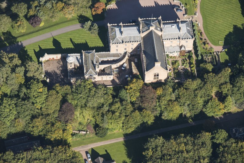 Oblique aerial view of Darnaway Castle, looking NNE.