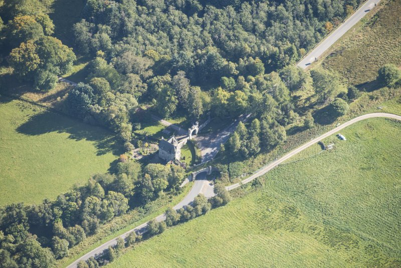 Oblique aerial view of Castle Grant North Lodge, looking SE.