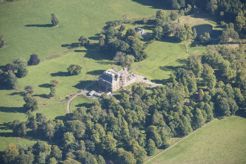 Oblique aerial view of Castle Grant, looking ESE.
