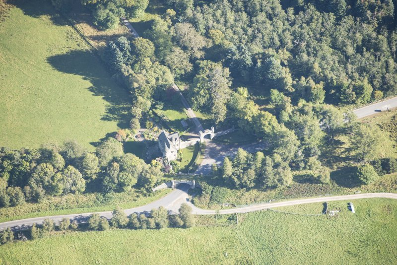 Oblique aerial view of Castle Grant North Lodge, looking E.