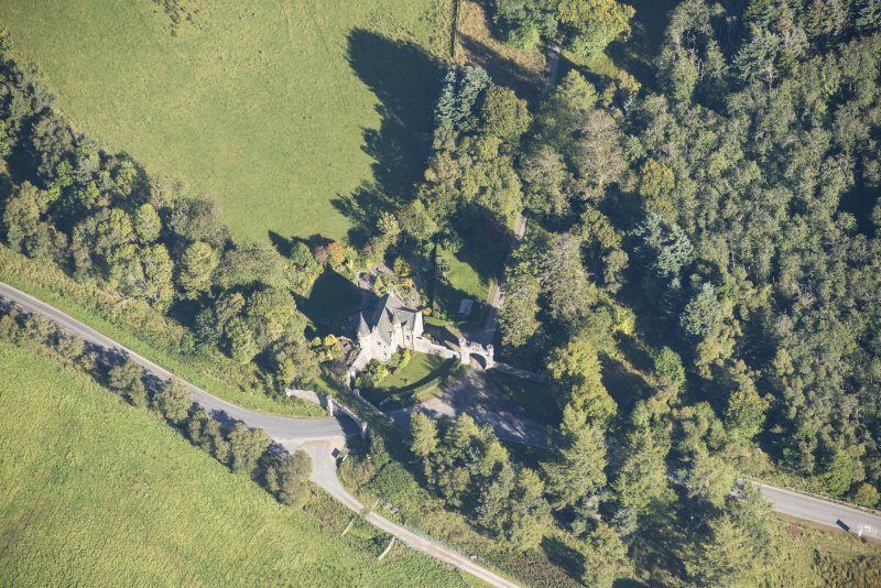 Oblique aerial view of Castle Grant North Lodge, looking NE.