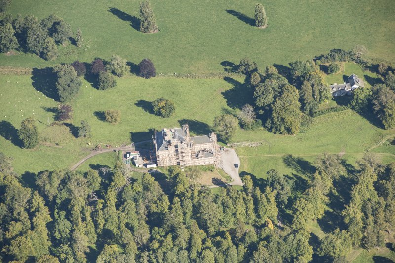 Oblique aerial view of Castle Grant, looking NE.