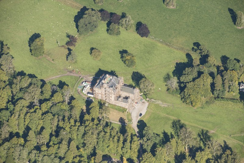 Oblique aerial view of Castle Grant, looking NNE.