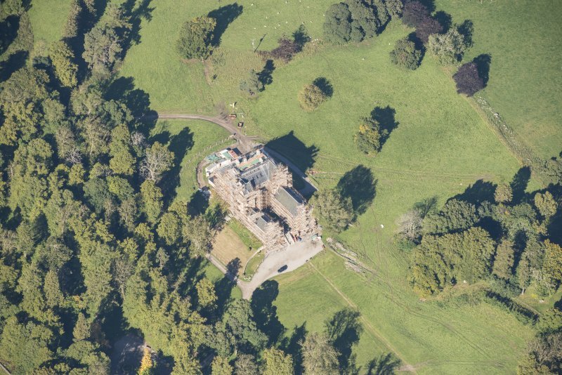 Oblique aerial view of Castle Grant, looking N.
