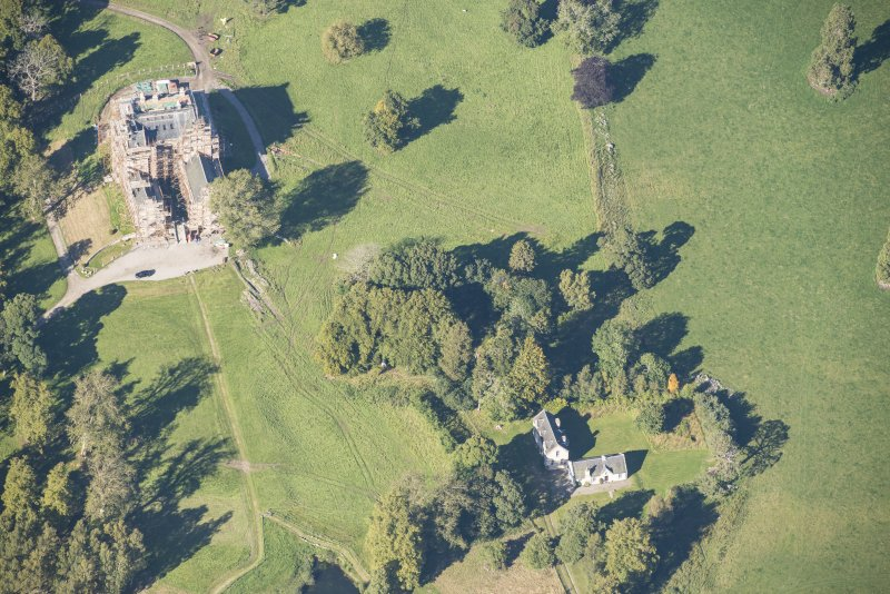 Oblique aerial view of Castle Grant, looking NNW.