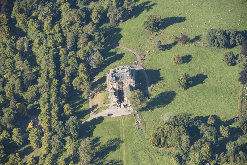 Oblique aerial view of Castle Grant, looking NW.