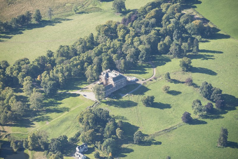 Oblique aerial view of Castle Grant, looking W.