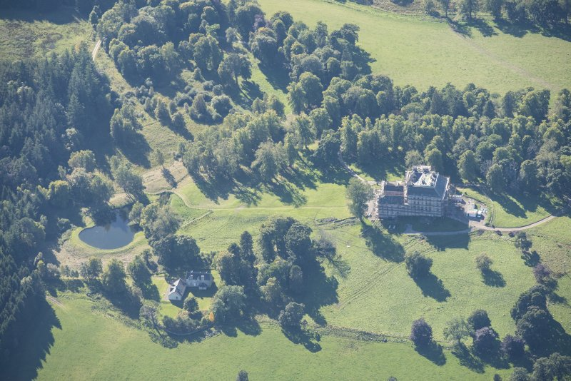 Oblique aerial view of Castle Grant, looking WSW.