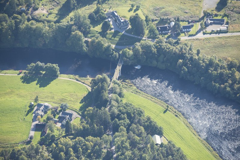 Oblique aerial view of Old Spey Bridge, looking S.
