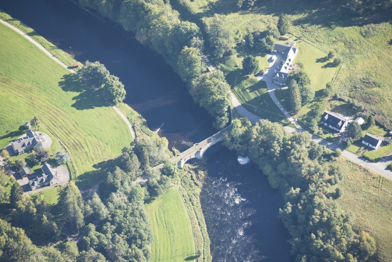 Oblique aerial view of Old Spey Bridge, looking SE.