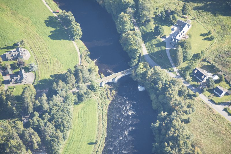 Oblique aerial view of Old Spey Bridge, looking ESE.