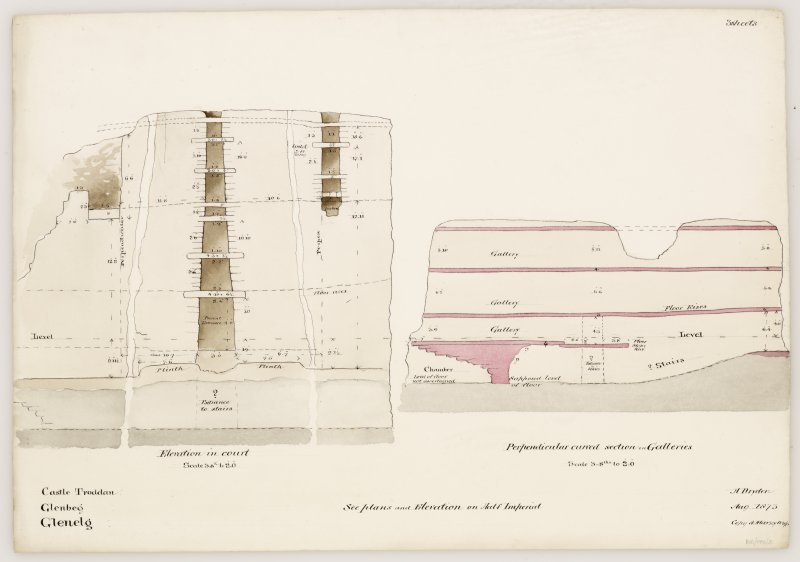 Drawing of elevation of interior and section of galleries, Dun Troddan broch