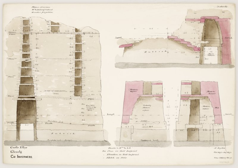 Drawing of interior elevations and sections of Dun Telve broch
