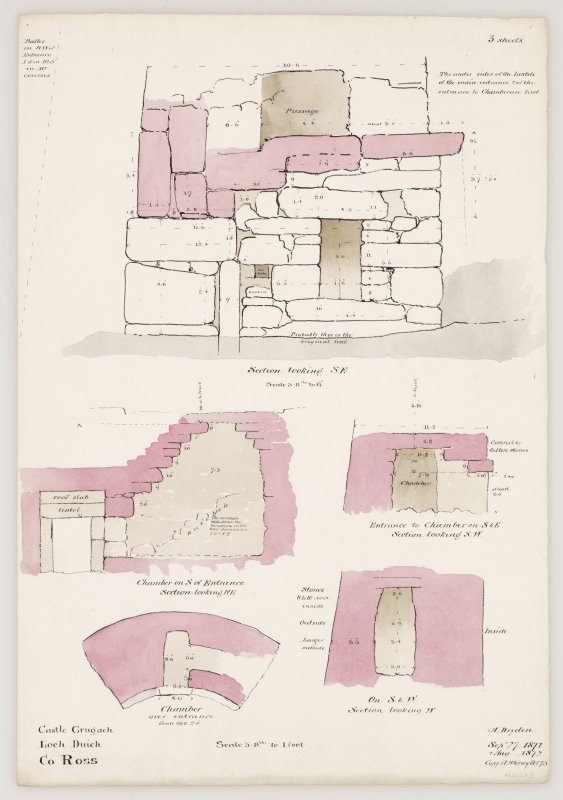 Drawing of sections of Caisteal Grugaig broch