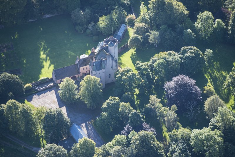 Oblique aerial view of Midmar Castle, looking ESE.