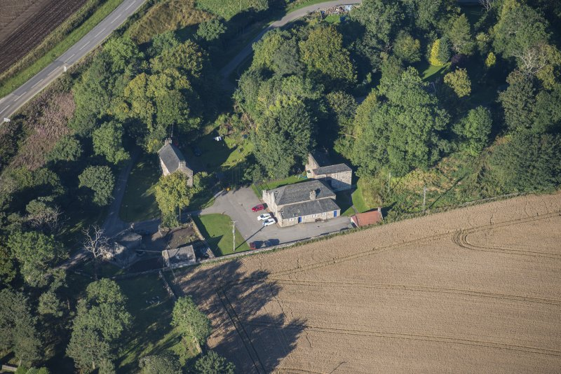 Oblique aerial view of Garlogie Mills Museum of Power and cottages, looking WSW.