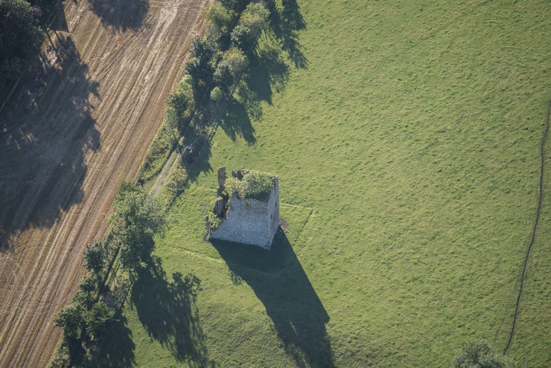 Oblique aerial view of Castle of Hallforest, looking SSE.