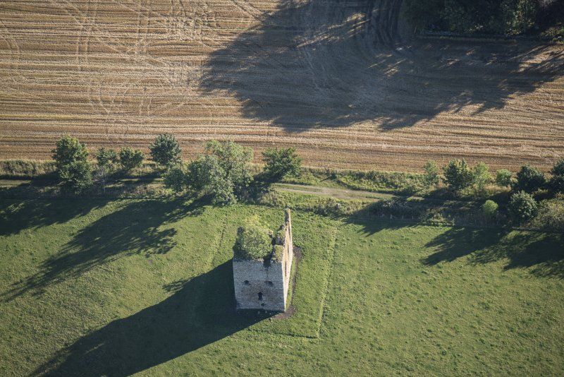 Oblique aerial view of Castle of Hallforest, looking ENE.