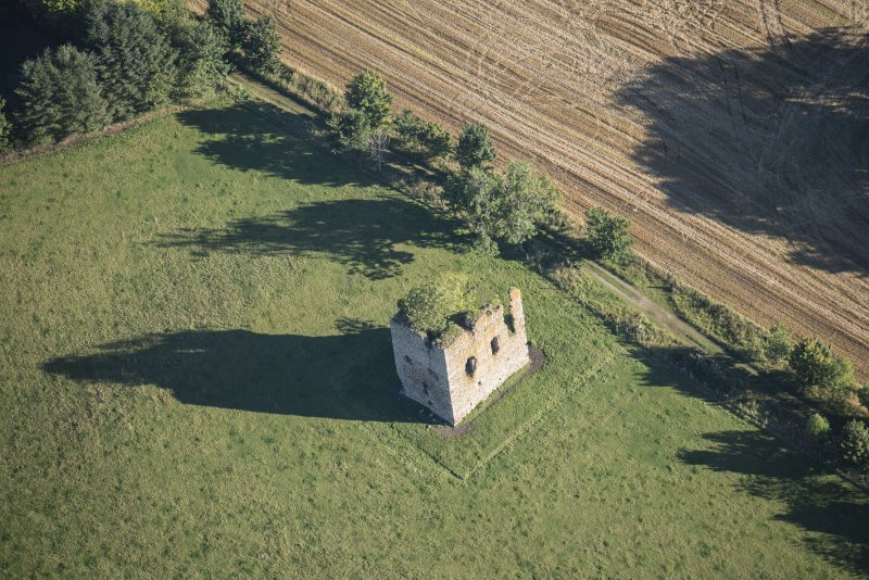 Oblique aerial view of Castle of Hallforest, looking NE.