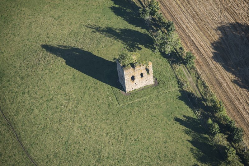 Oblique aerial view of Castle of Hallforest, looking NNE.