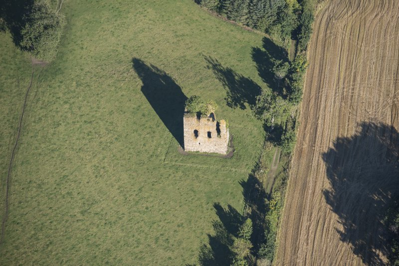 Oblique aerial view of Castle of Hallforest, looking NNW.