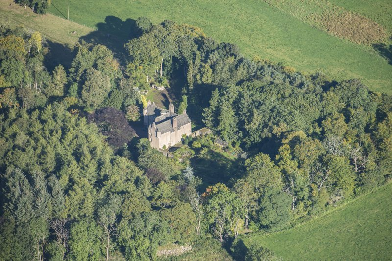 Oblique aerial view of Castle of Hallforest, looking NW.