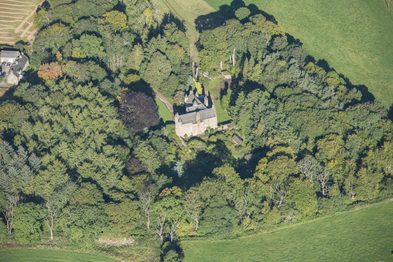 Oblique aerial view of Balbithan House, looking WNW.