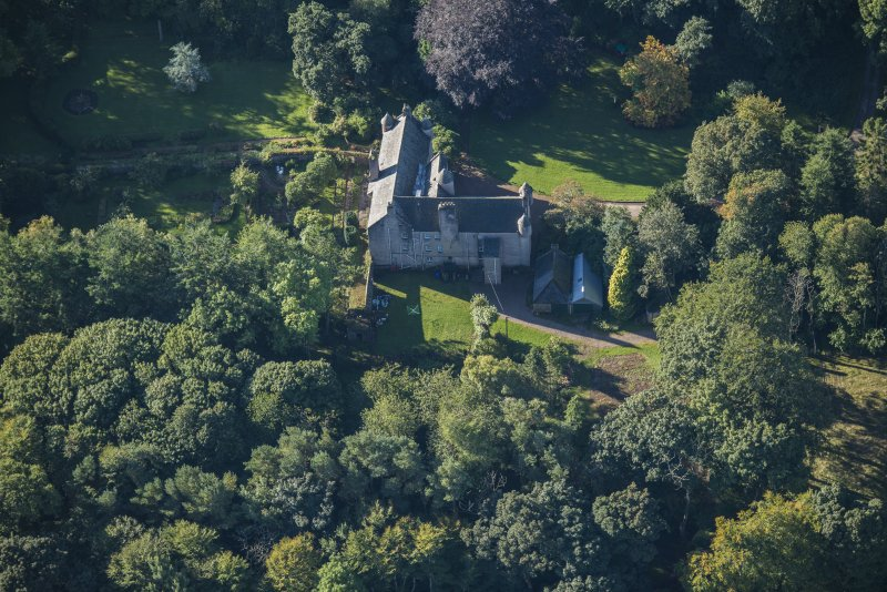 Oblique aerial view of Balbithan House, looking NE.
