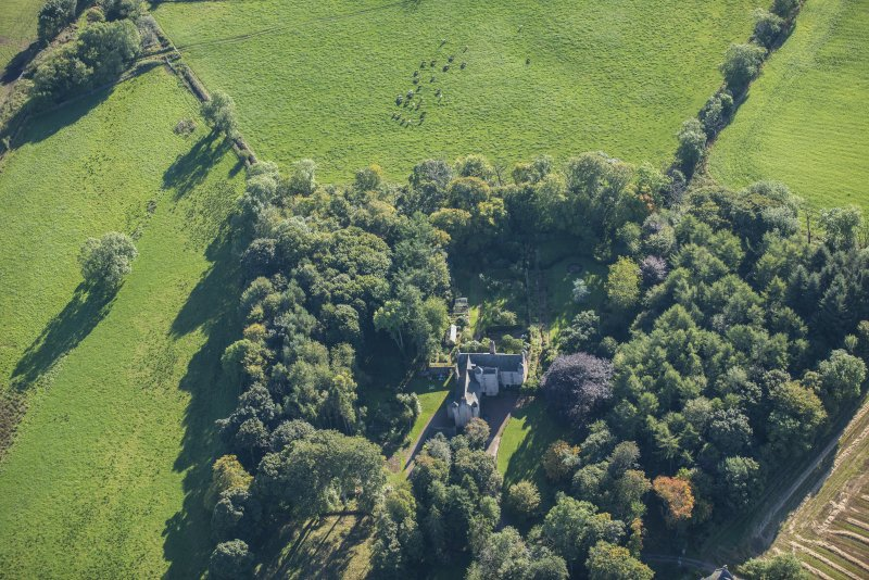 Oblique aerial view of Balbithan House, looking E.