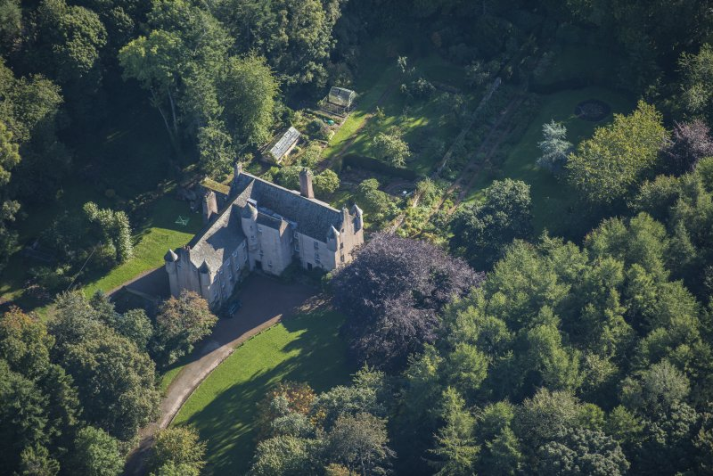 Oblique aerial view of Balbithan House, looking ENE.