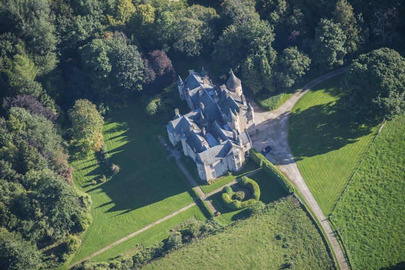 Oblique aerial view of Pitcaple Castle, looking ENE.