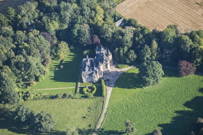 Oblique aerial view of Pitcaple Castle, looking NE.
