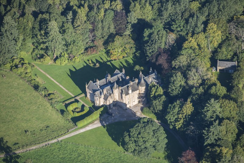 Oblique aerial view of Pitcaple Castle, looking NNW.