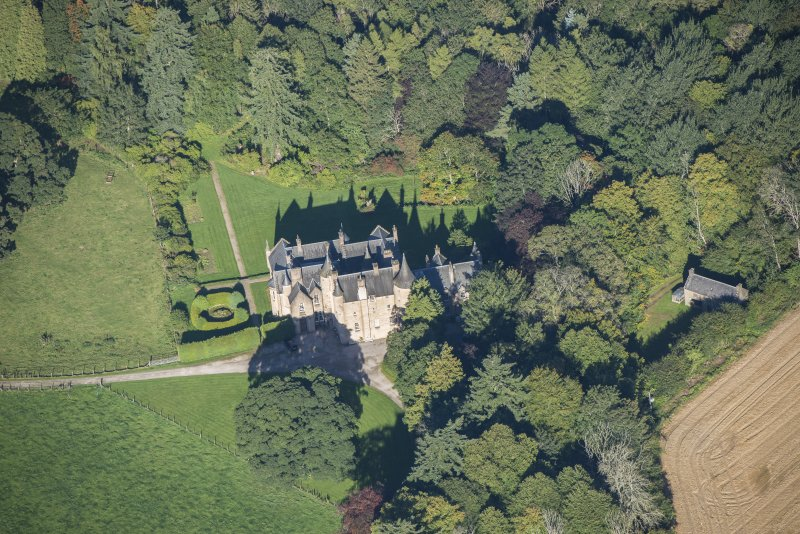 Oblique aerial view of Pitcaple Castle, looking NW.